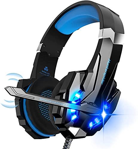 Hunterspider Auriculares de Diadema para Videojuegos con micrófono, 3.5mm Jack con Luz LED Bass Surround y Cancelación de Ruido Auriculares Compatible con PC/Xbox One/Switch (Blue)