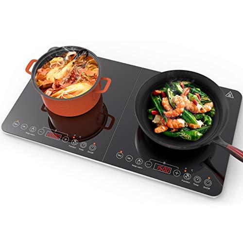 Aobosi Plaque à induction, plaque de cuisson à induction double, table de cuisson portable, commande par capteur et plateau en verre cristal, 3500 Watt, fonction minuterie,10 niveaux de température