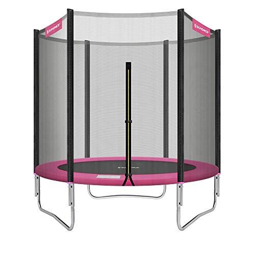 SONGMICS Trampoline extérieur, diamètre 183 cm, Équipement jardin, filet de protection, poteaux recouverts, sécurité testée par TÜV Rheinland, Noir et Rose STR061P01