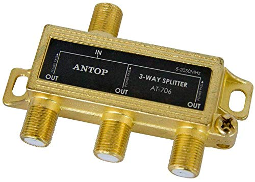 ANTOP 3 Way Antenna Coaxial Splitter TV Signal Splitter 2GHz- 5-2050MHz - Low-Loss RF Splitter for TV and Satellite - 18K Gold-Plated Chassis - All Port DC Power Passing
