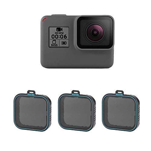 TELESIN Filtro Densità Neutro da 3 Unità Set Filtro ND, Filtri ND4 ND8 ND16 per GoPro Hero (2018) Hero 5 Hero 6 Hero 7 Black Action Camera Accessori Kit