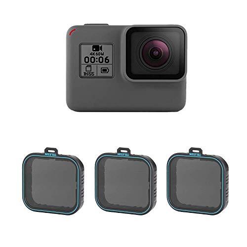 TELESIN Set filtri ND per filtri densità neutri, filtro obiettivi ND4 ND8 confezione da 3 pezzi per GoPro Hero 2018, Hero 5, Hero 6,Hero 7 Black Camera Lens (ND4/8/16)