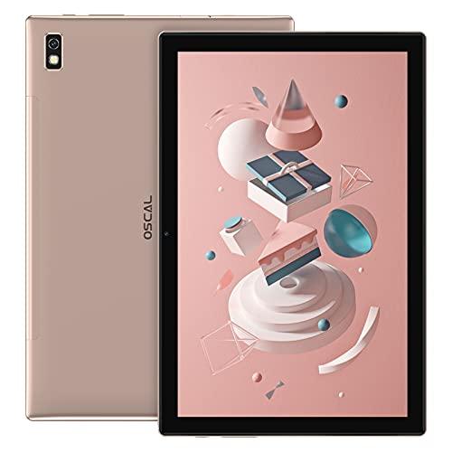 Tablette 10.1 Pouces Android 11, OSCAL Pad8 Gaming Tablette(Duouble SIM+5G WiFi, 4Go+64Go/SD-128Go, SC9683A Octa-Core, 6580mAh, 1920*1200 5MP+2MP)4G LTE Tablette PC, Face ID/OTG/2Ans de Garantie-Gold