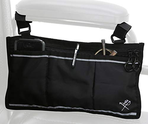 Pembrook Wheelchair Side Bag with Pouches - Great for Electric Wheelchairs, Electric Scooter, Walker Accessories, Other Mobility Devices - Lightweight Nurse Bag and Organizer for Medical Chairs