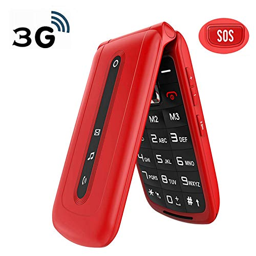 Ushining Unlocked Flip Phone 3G Dual SIM Card 2.4'' Flip Cell Phones Unlocked SOS Button Easy to Use Mobile Phone for Elderly & Kids (Red)