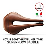Selle Italia Novus Boost Gravel Heritage SuperFlow Road Bike Saddle - Comfortable MTB and Road Bicycle Seat for Men and Women - 255 x 148mm, 260g, Brown