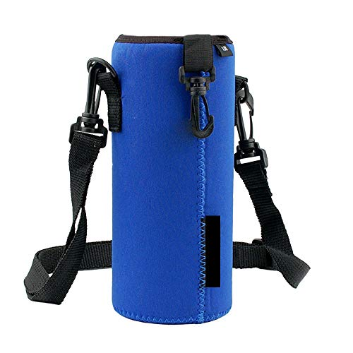 Water Bottle Sleeve, Sacow 1000ML Protable Insulated Neoprene Drink Bottle Cooler Carrier Cover Sleeve Bag Case Pouch Cover Tote Bag Holder with Adjustable Shoulder Strap (Blue)