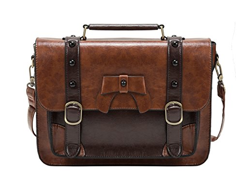 41vNuO3sqDL Dimensions: L12.8 x W3.5 x H10 inches; Weight: 2.2lb Material: PU leather with durable top handle and rugged gold hardware. Detachable and adjustable straps; The flap top fastens to the bag with 2 magnetic buttons underneath the buckle straps