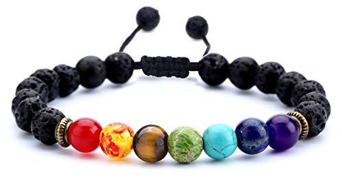 Hamoery Men Women 8mm Lava Rock Beads Chakra Bracelet...