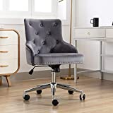 Irene House Modern Mid-Back Tufted Velvet Fabric Computer Desk Chair Swivel Adjustable Accent Home Office Task Chair Executive Chair with Soft Seat (Dark Grey)