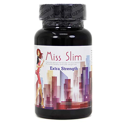 Miss Slim Extra Strength Weight Loss Pills for Women – Clinically Proven Fast Fat Binder – Fat burner Diet Pill by Miss Slim 30 Veggie Cap (Extra Strength - 30 Count) 1