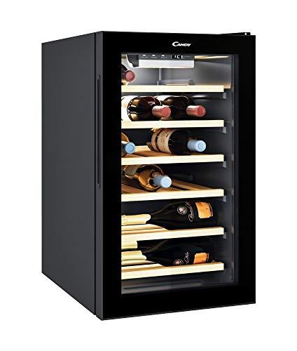 CANDY Divino Cantinetta per Vino Cwc 021 Elsp/N 73 Litri, 21 Bottiglie, Conservazione da 7 A 18 C, Interfaccia Elettronica, 6 Ripiani in Legno, 39 D(B)A, Maniglie Integrate, Colore Nero