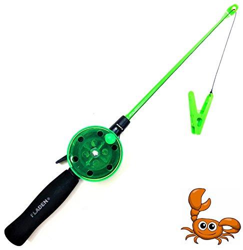 Fladen, canna da pesca per granchi e gamberi, con molletta e lenza, senza ami, perfetto per bambini, colore: rosa e verde, Green