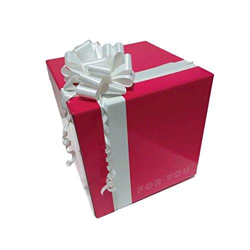 Caja de regalo original con lazo para regalo box cubo regalo magenta plastificada brillante