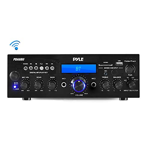 Pyle PDA6BU.5 Compact Bluetooth Stereo Amplifier - Desktop Audio Power Amp Receiver with FM Radio, MP3/USB/SD Readers, Digital LCD Display, Microphone Input (200 Watt), Black