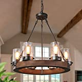 GEPOW Farmhouse Wood Chandelier, Round Wagon Wheel Light Fixture with Seeded Glass Shades for Dining Room, Living Room, Bedroom, Kitchen Island and Foyer