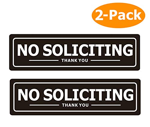 No Soliciting Sign for Door - Metal Signs for House Business and Office Wall - Weather Resistant Aluminum with Strong Self Adhesive (2 Pack, Black 72 inches)