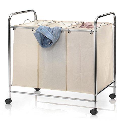 CARO-Möbel Wäschewagen KATJA Wäschekorb auf Rollen Wäschesortierer mit 3 Fächern Metallgestell verchromt