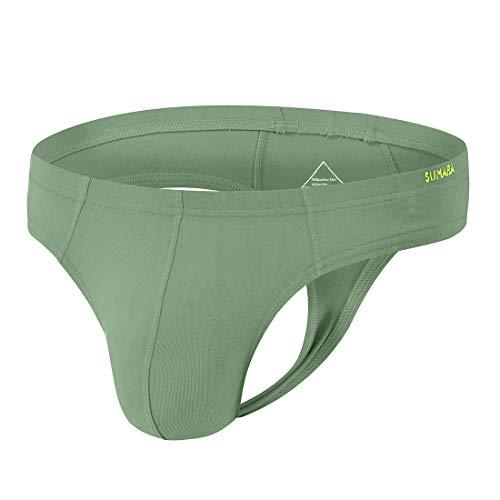 Sexy Men Thong Man G-String Show Butt Y Tongs Undie T-Back Underwears Green Size XXL