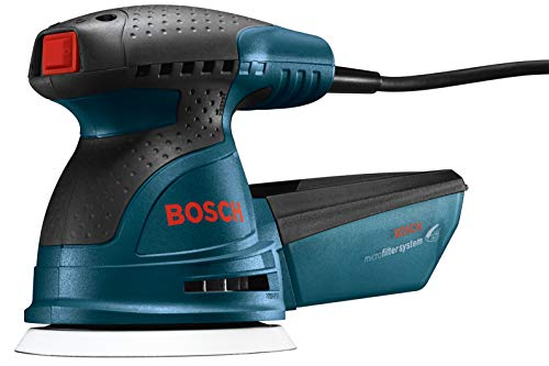 Bosch ROS20VSC Palm Sander - 2.5 Amp 5 in. Corded Variable Speed Random Orbital Sander/Polisher Kit with Dust Collector and Soft Carrying Bag, Blue