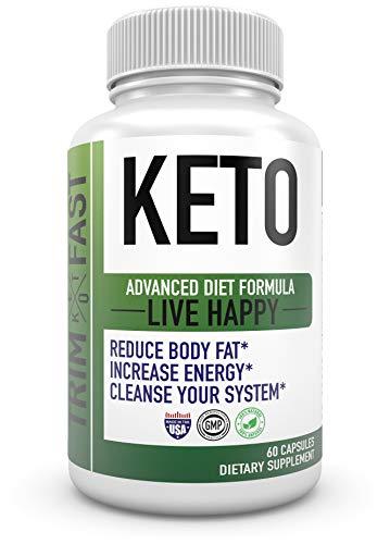 Trim Fast Keto Pills - Live Happy Keto Body Trim Fast Burn Supplement for Energy - BHB Ultra Boost Exogenous Ketones for Rapid Ketosis for Men Women- goBHB (3 Pack) 3