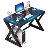 Tempered Glass Computer Desk with X-Shaped Metal Frame, Fashion Modern Design Writing and Study Desk, Work Desk for Home Office (Black)
