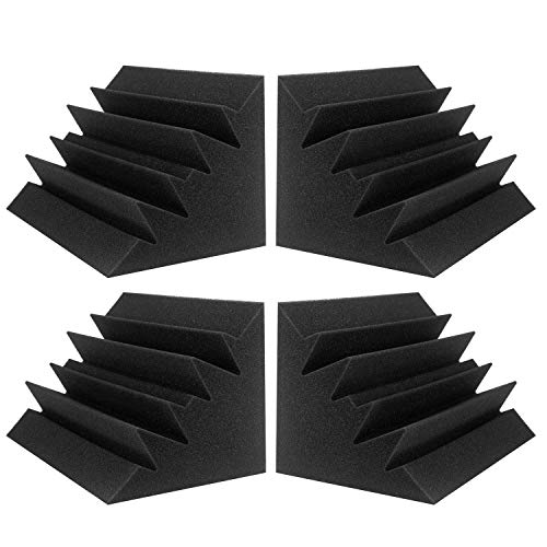 JBER 4 Pack Acoustic Foam Bass Trap Studio Foam 12' X 7' X 7' Soundproof Padding Wall Panels Corner Block Finish for Studios Home and Theater