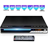 Gueray DVD Player, All Region Free DVD CD Recorded Disc Player with HDMI/AV Output, HD 1080P, Supports MIC/USB, Remote Control, Built-in PAL/NTSC System, Coaxial Port for TV Connect,Black