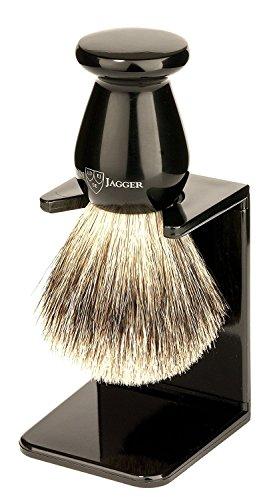 Edwin Jagger Best Badger Shaving Brush with Drip Stand, Imitation Ebony, Medium, Black