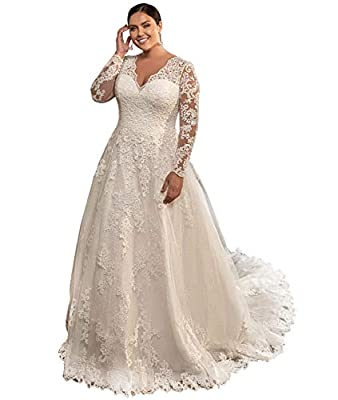 👰FOR THIS WEDDING DRESS FEATURES: Lace Appliques,A-line,long Sleeves,Button and lace up back closure,Satin lining,Built in Bra,Chapel Train,Plus size Wedding Dress for Bride 2021 . 👰WEDDING DRESS FOR BRIDE SHIPPING: normally order takes 2-4 working d...