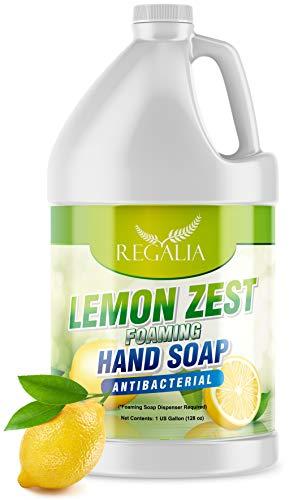 Lemon Zest- Foaming Antibácterial Hand Soáp Refill 1 Gallon (128 oz) Refreshing Lemon Scent Bulk Hand Wash.