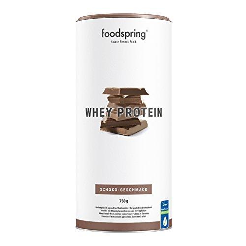 foodspring - Whey Protein al Cioccolato - 750 g -80% di proteine del siero del latte - Proteine per lo sviluppo muscolare