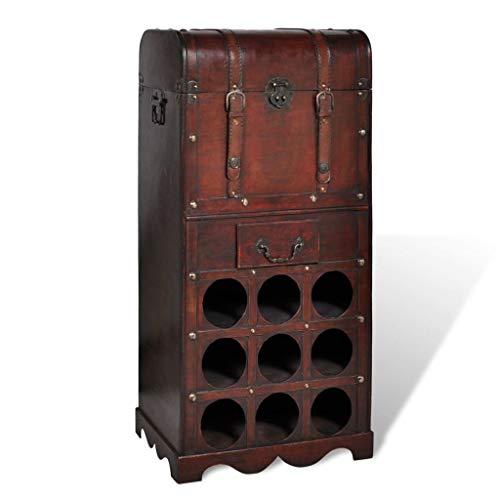 vidaXL Holz Flaschenregal 9 Flaschen Truhe Weinregal Weinständer Weinschrank