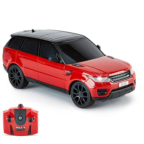 CMJ RC CarsTM Range Rover Sport Official Licensed Remote Control Car 1:24 with Working LED Lights, Radio Controlled Supercar (Range Rover Sport Red)