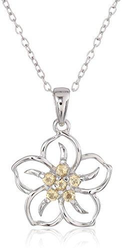 Sterling Silver Genuine Citrine Flower Pendant Necklace, 18'