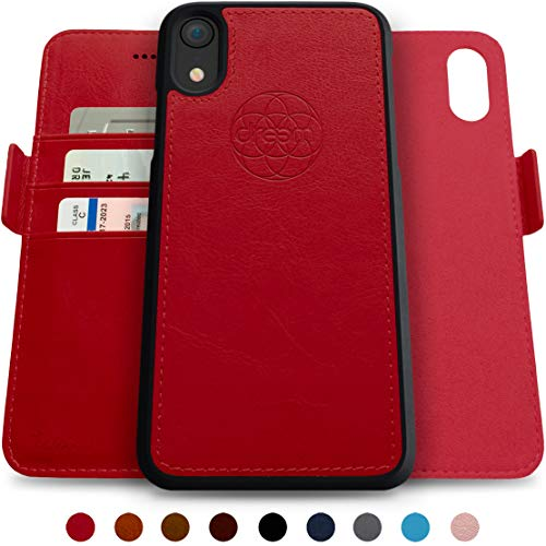 Dreem Fibonacci 2-in-1 Wallet-Case for iPhone XR, Magnetic Detachable Shock-Proof TPU Slim-Case, RFID Protection, 2-Way Stand, Luxury Vegan Leather, Gift-Box - Red