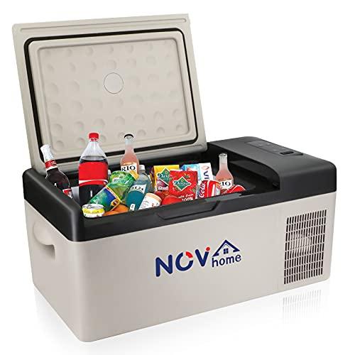 Novhome - Mini frigorifero e congelatore per auto, 15 l, compressore portatile da 12 V, mini frigorifero elettrico, per viaggi all'aperto, campeggio e uso domestico