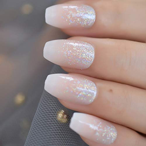 CoolNail Holo Glitter Pink Nude French Ballerina Coffin False Nails Gradient Natural Press on Fake Nails Tips Daily Office Finger Wear