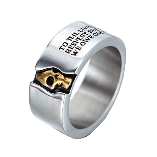 OAKKY Mens Stainless Steel 10MM Skull Ring Cool Half Face Silver White Biker Bands Engraved Letters Size L