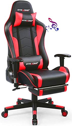 Gtracing Gaming Chair with Footrest and Bluetooth Speakers Music Video Game Chair Heavy Duty...