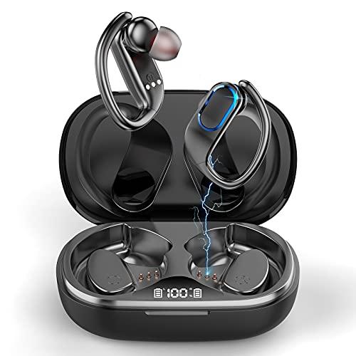 Écouteur Bluetooth Sport Écouteurs sans Fil, IP7 Étanche Oreillette Bluetooth 5.1 avec Microphone, CVC 8.0 Antibruit HD Stéréo Écran LED Casque sans Fil 48 Heures Durée de Lecture pour Jogging Gym