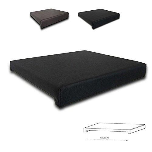 Klemmkissen Sitzkissen 2 Leisten - 40cm Klemmtiefe Kunst-Leder braun oder schwarz, Farbe:schwarz