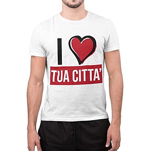 CHEMAGLIETTE! T-Shirt Uomo Maglietta Personalizzata Personalizzabile col Nome della Tua Citt o del Tuo Paese (XL, Bianco)