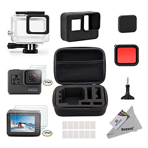 Deyard 25 in 1 kit di accessori per GoPro Hero 7(Solo nero) Hero (2018) GoPro Hero 6 Hero 5 con piccolo kit custodia antiurto per GoPro Hero GoPro Hero 6 Hero 5 Action Camera