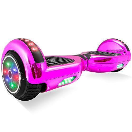 XtremepowerUS 6.5' Hoverboard Self-Balancing Scooter LED Light Bluetooth Speaker Two-Wheel LBW17 (SGS Certified) for Kids & Adult (Pink)