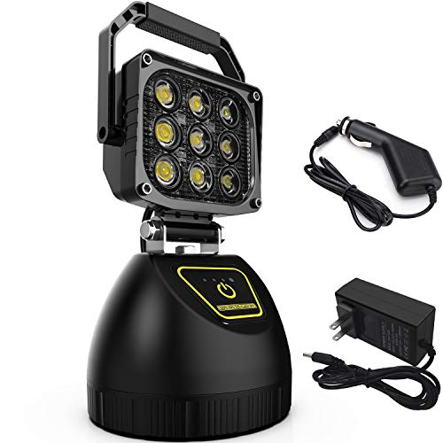 LED Work Light,WEISIJI 45W Protable Rechargeable Light with Magnetic Base for Construction Site Camping Outdoor Fishing Emergency Search Light with SOS Function 10000mA Power Bank 2 Years Warranty