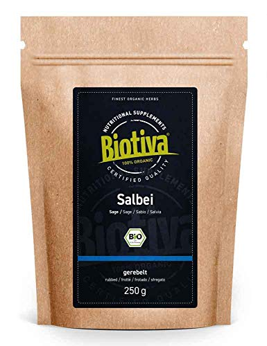 Salbei Tee Bio 250g - Echter Salbei - Salvia officinalis - gerebelt - ohne Zusatzstoffe - abgefüllt in Deutschland (DE-ÖKO-005) - vegan