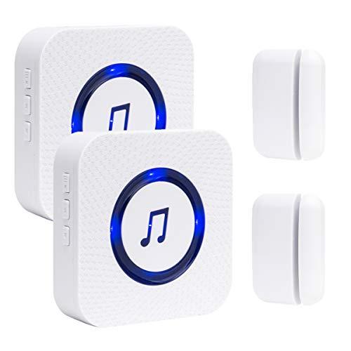 Wireless Door Open Chime Entry Alert Door Entry Alarm for Business Home Store 52 Ringtones 4 Volume Level 2 Receiver 2 Magnetic Window Sensor