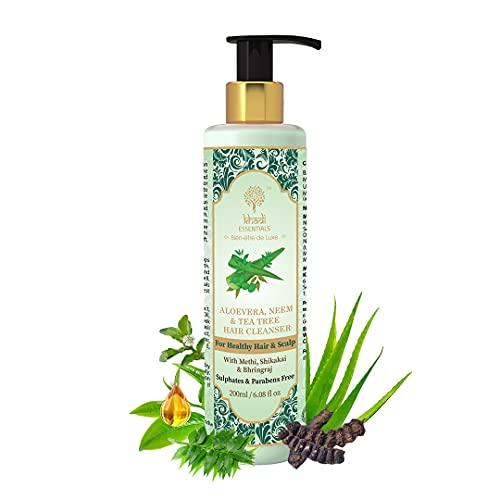 Khadi Essentials Anti Dandruff Shampoo for Men, Women with Methi Aloe Vera, Neem, Tulsi, Tea Tree Oil, For Hair Fall Control, Hair Growth, 200ml SLS Paraben Free Hair Cleanser