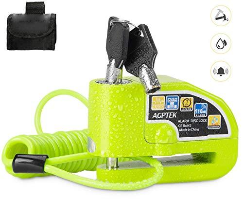 AGPTEK Bremsscheiben-Schloss für Motorrad, Alarmfunktion, Diebstahlschutz, Stahl, 7mm, 110dB, für Motorräder / Fahrräder, wasserdicht, mit Tasche und 2Schlüsseln